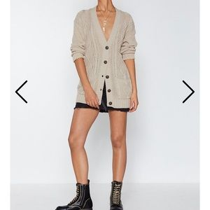 Nasty gal be done with knit cable cardigan